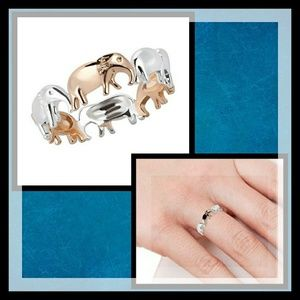Jewelry - Sterling Silver & 14k Rose Gold Elephant Ring